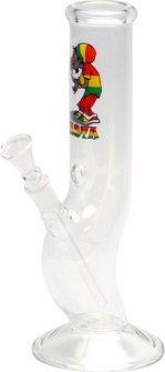 "Bong Glas ""Rasta Smoker"" mit Knick, 26cm, Durchm. 45mm, 14.5"
