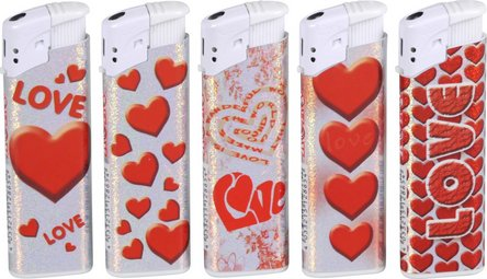 "COOL refillable piezo lighter ""Heart"" package, content"