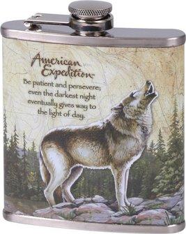 "Flachmann chrom bedruckt ""Wolf"" 7oz/210ml"