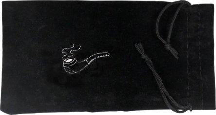 """Stoffbeutel """"Pfeifenlogo"""" schwarz/Pfeife19x10cm mit Schnur"""