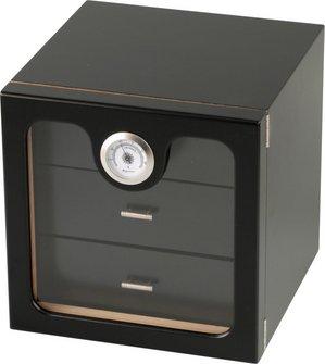 Humidor Schrank schwarz Acrylscheibe für ca. 50 Cigarren