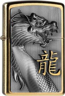 """Org.ZIPPO gold Dusk Plakette """"Golden Dragon"""" 2004517"""