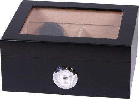 Humidor schwarz matt Deckel mit Glaseinsatz für ca. 25 Cig.