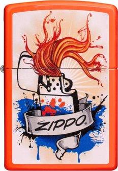 """Org.ZIPPO Neon Orange color""""Zippo Grafic"""" 60004586"""